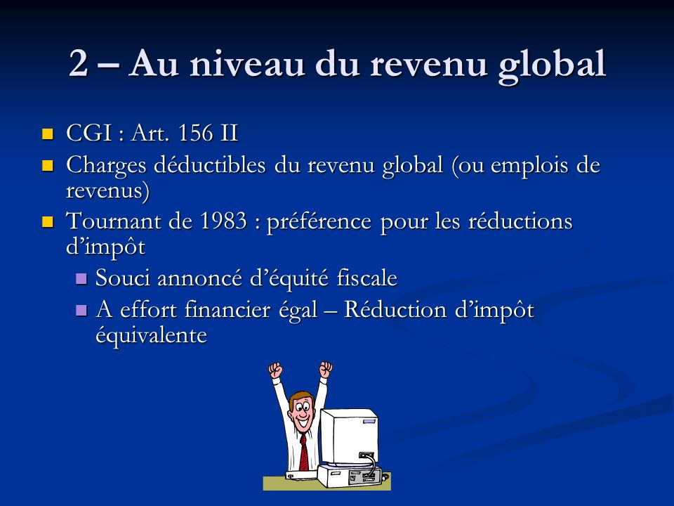 2 – Au niveau du revenu global