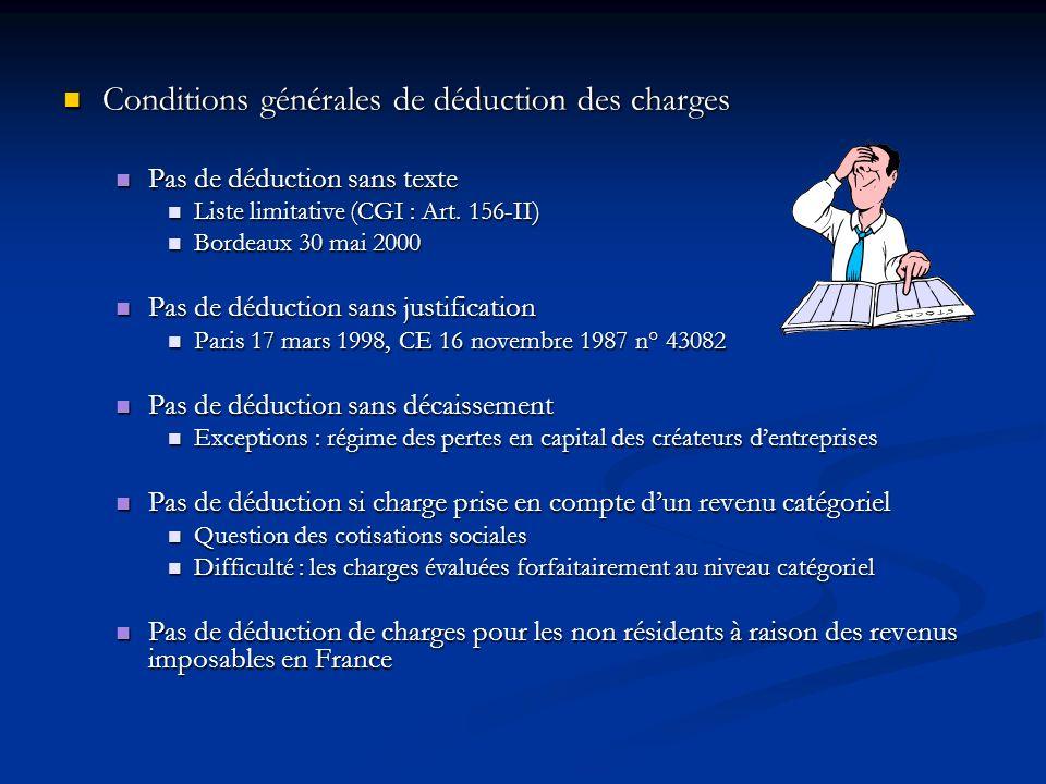 Conditions générales de déduction des charges