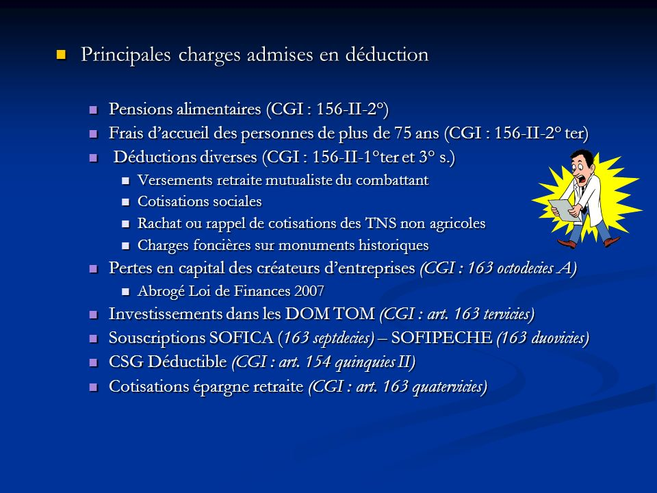 Principales charges admises en déduction