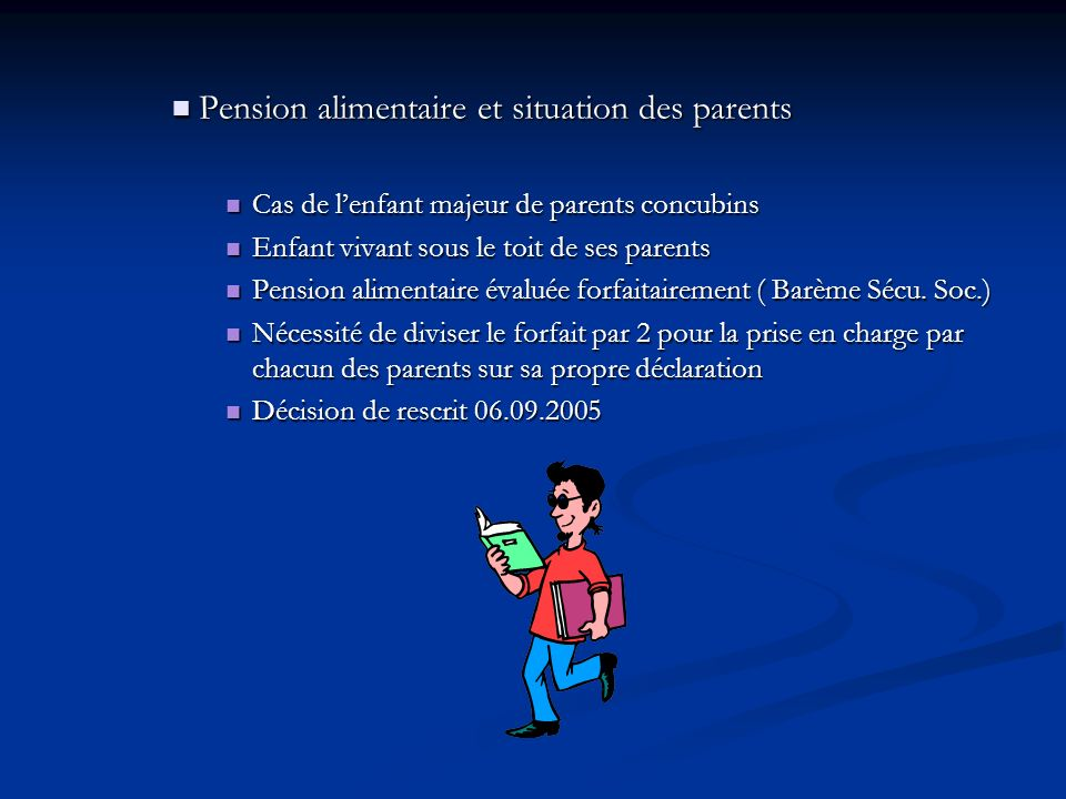 Pension alimentaire et situation des parents