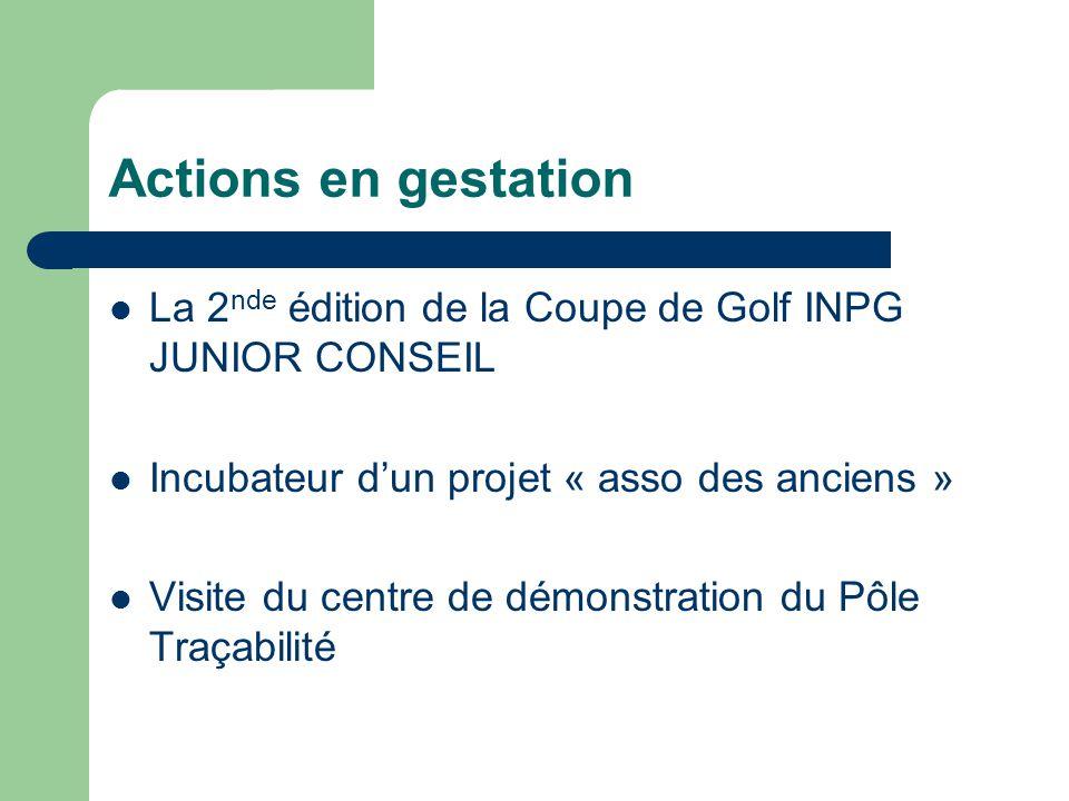 Actions en gestation La 2nde édition de la Coupe de Golf INPG JUNIOR CONSEIL. Incubateur d'un projet « asso des anciens »