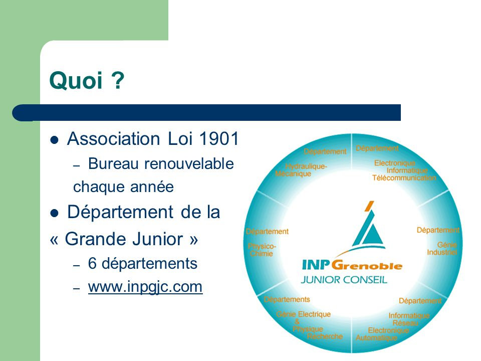Quoi Association Loi 1901 Département de la « Grande Junior »