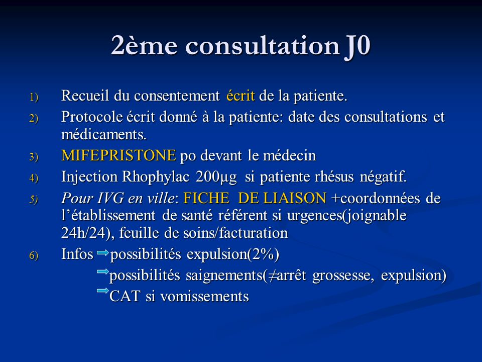 2ème consultation J0 Recueil du consentement écrit de la patiente.
