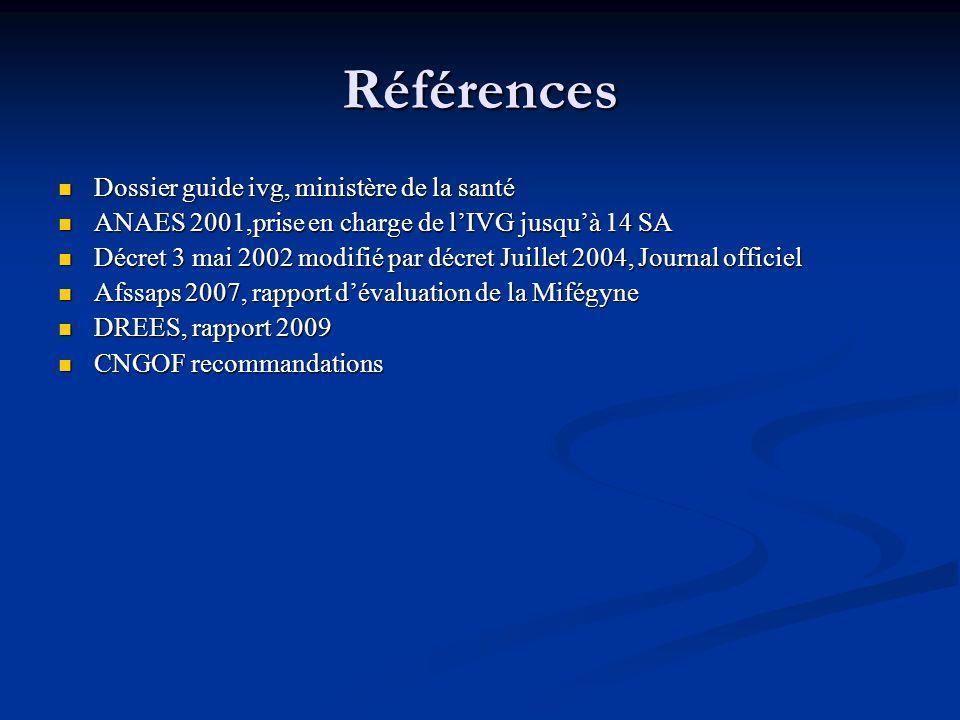 Références Dossier guide ivg, ministère de la santé