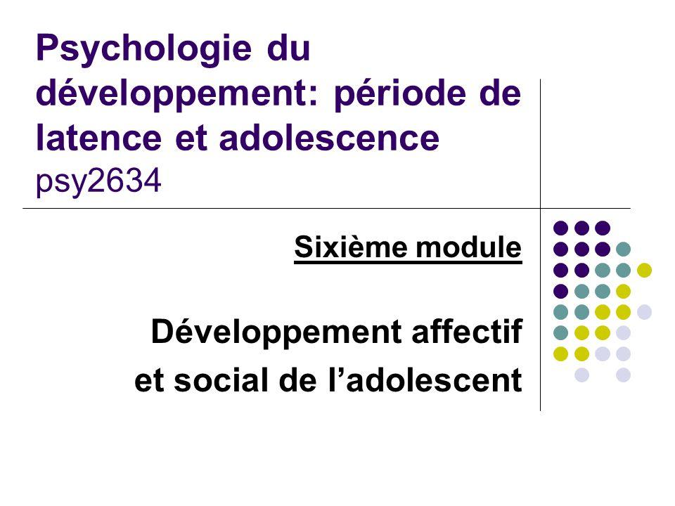 Sixième module Développement affectif et social de l'adolescent