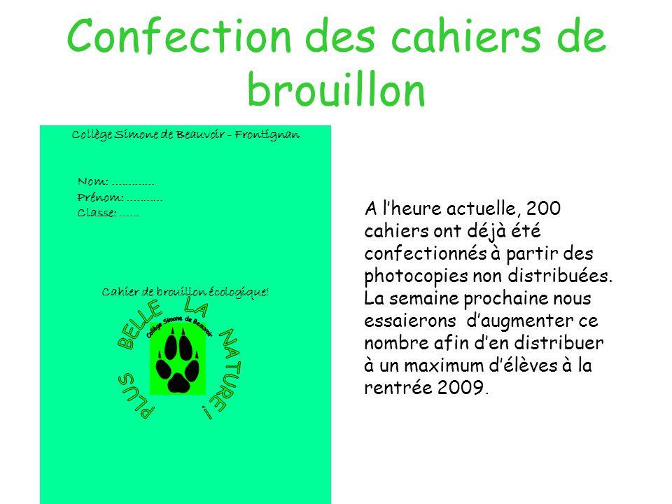 Confection des cahiers de brouillon