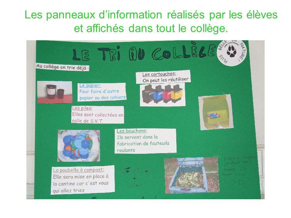 Les panneaux d'information réalisés par les élèves et affichés dans tout le collège.