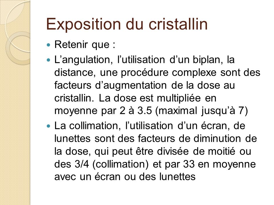 Exposition du cristallin