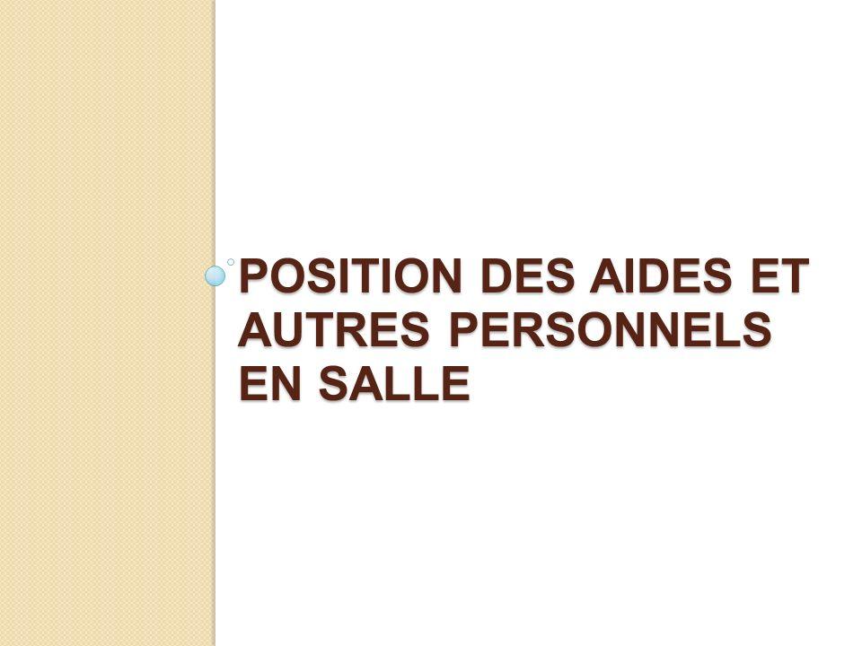 position DeS AIDES ET AUTRES PERSONNELS EN SALLE