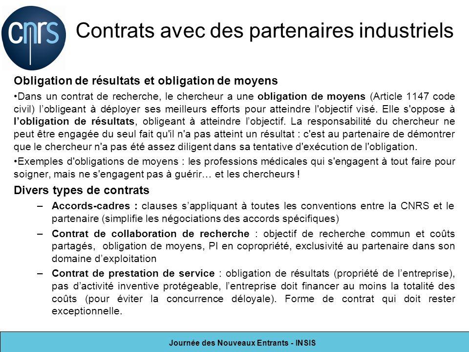 Contrats avec des partenaires industriels