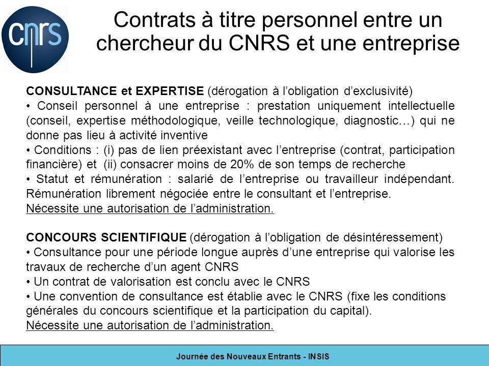 Contrats à titre personnel entre un chercheur du CNRS et une entreprise