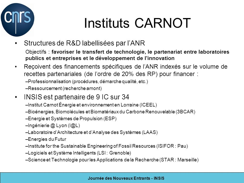 Instituts CARNOT Structures de R&D labellisées par l'ANR