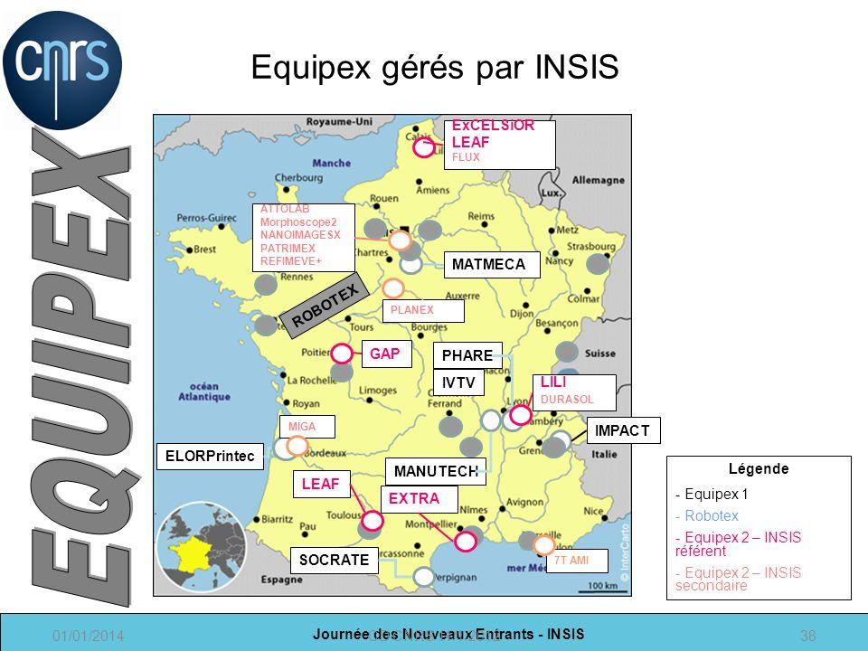 Equipex gérés par INSIS