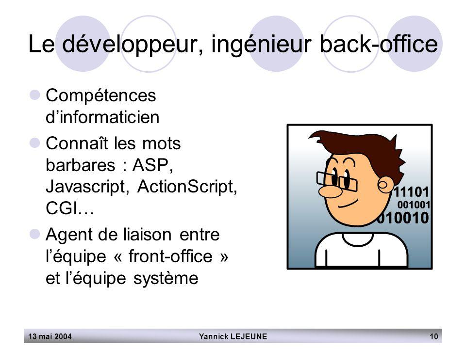 Le développeur, ingénieur back-office