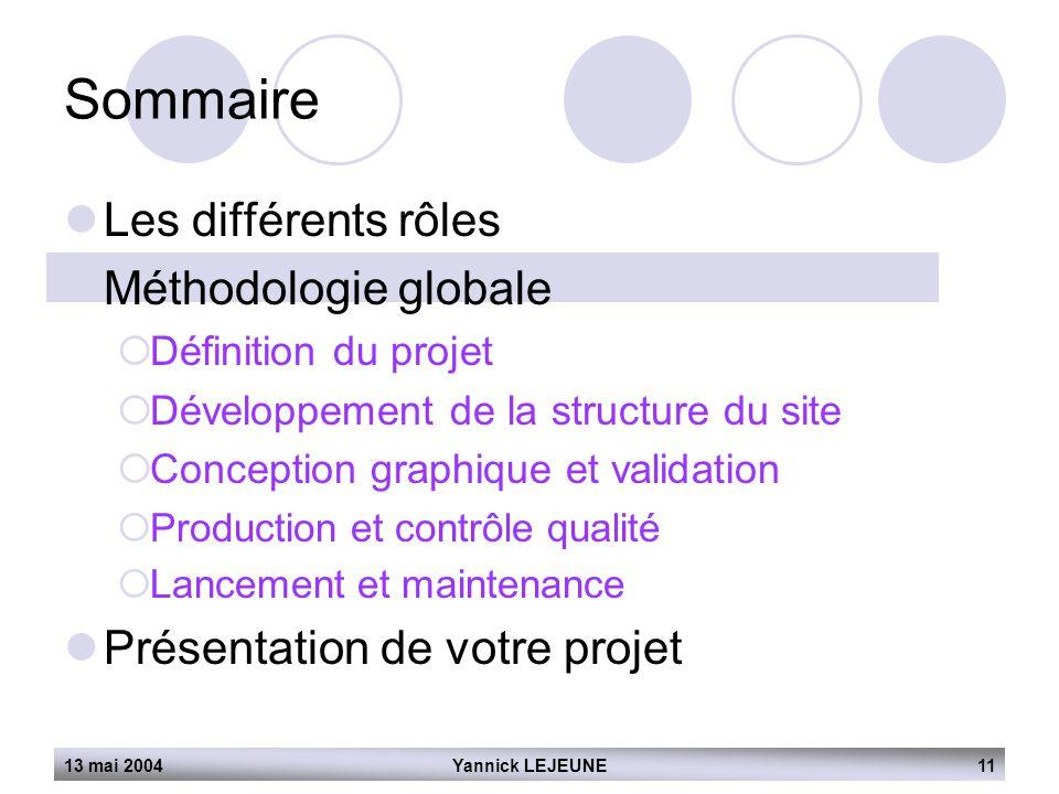 Sommaire Les différents rôles Méthodologie globale