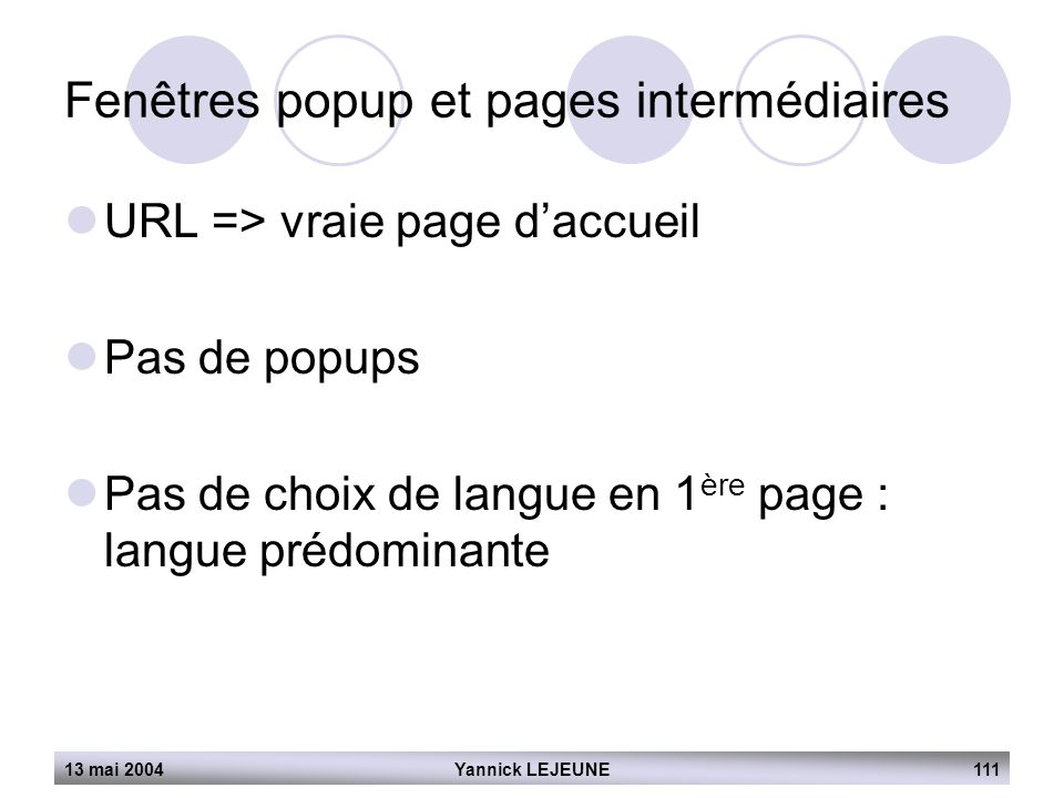 Fenêtres popup et pages intermédiaires