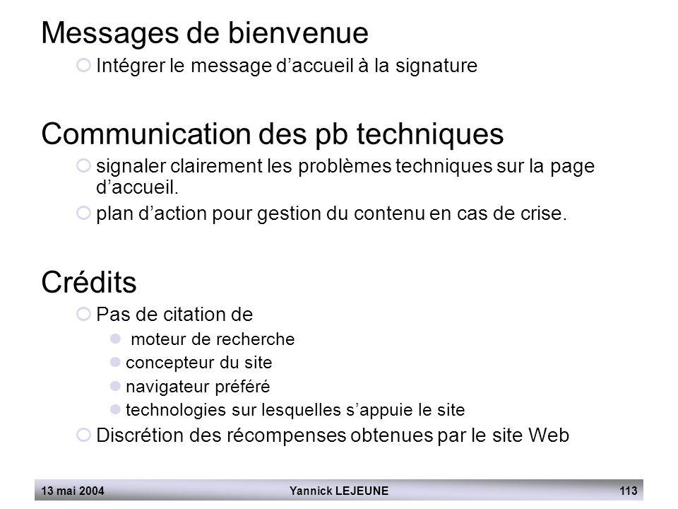 Communication des pb techniques