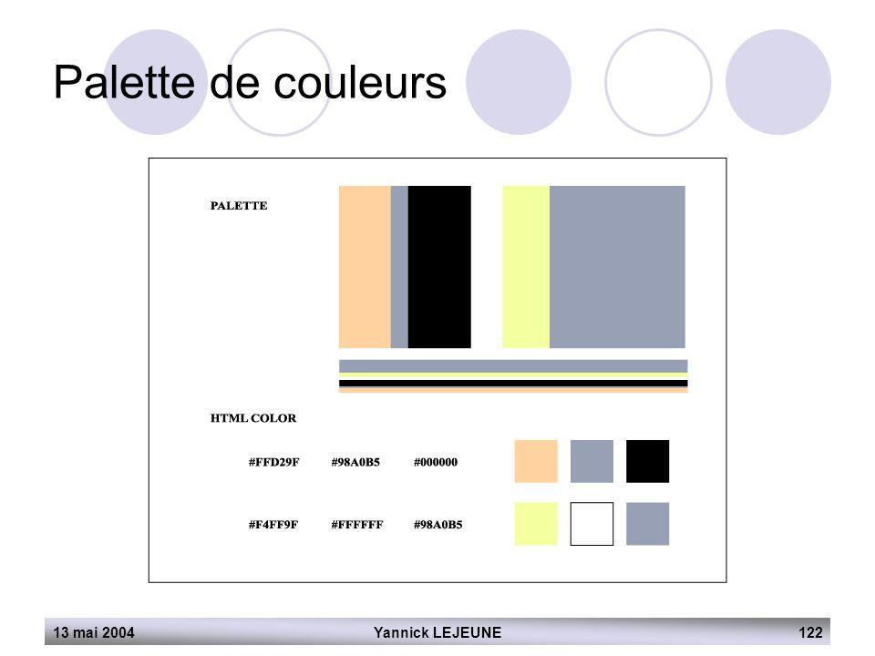 Palette de couleurs 13 mai 2004 Yannick LEJEUNE