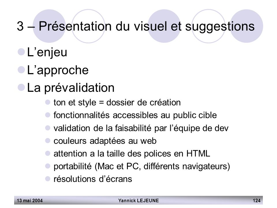 3 – Présentation du visuel et suggestions