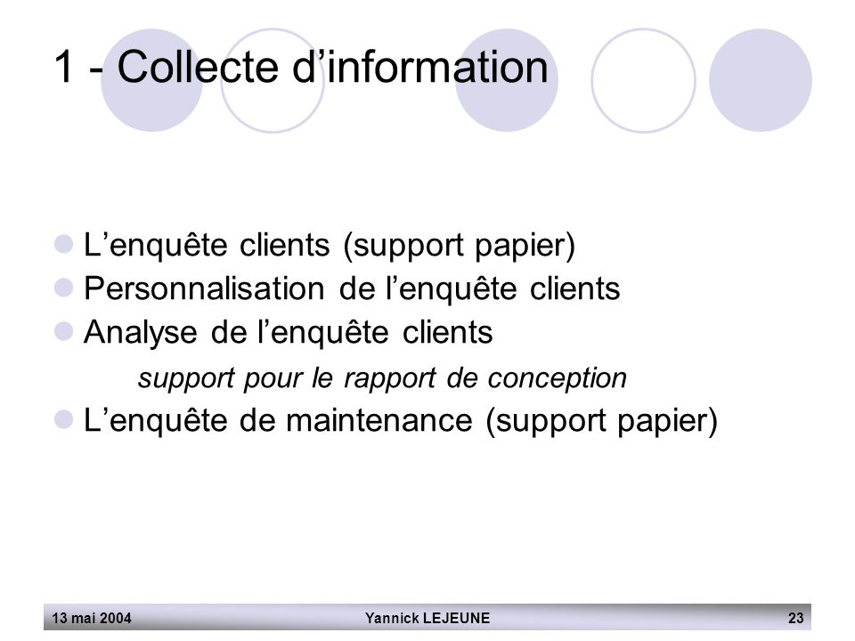 1 - Collecte d'information
