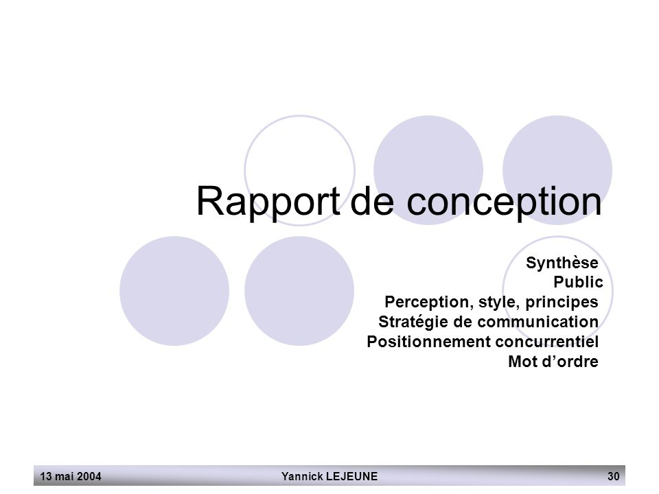 Rapport de conception Synthèse Public Perception, style, principes