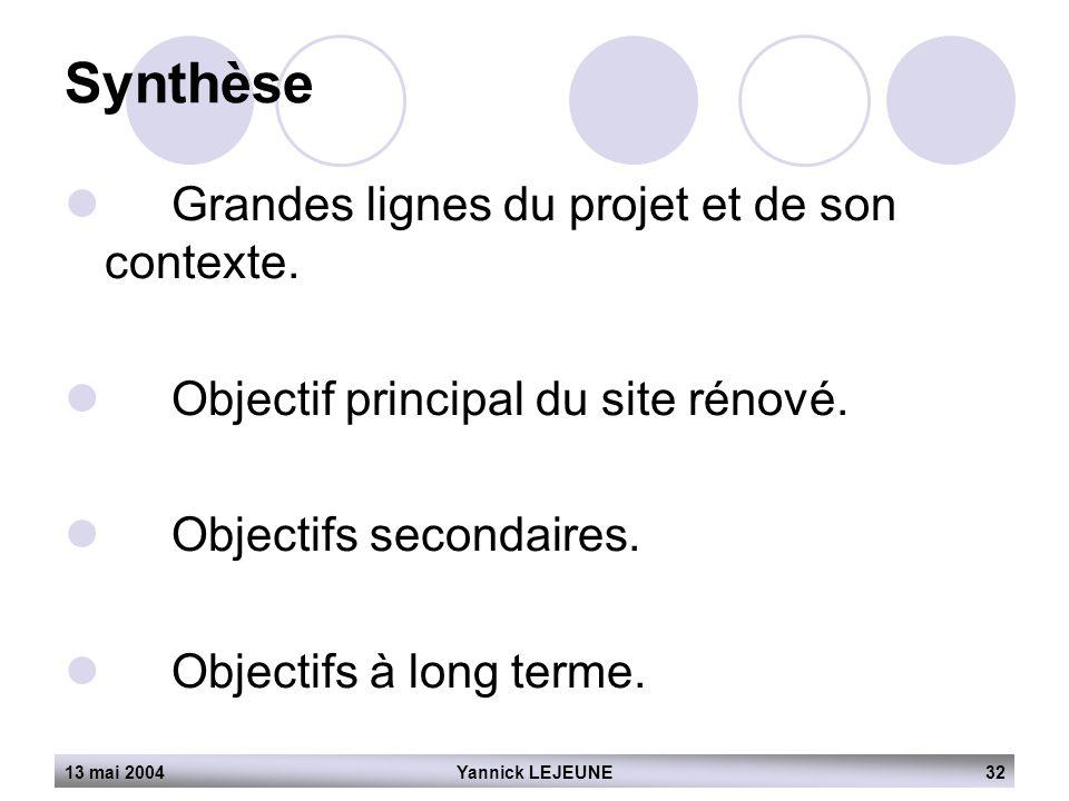 Synthèse Grandes lignes du projet et de son contexte.