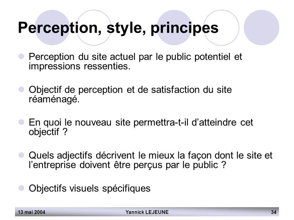 Perception, style, principes