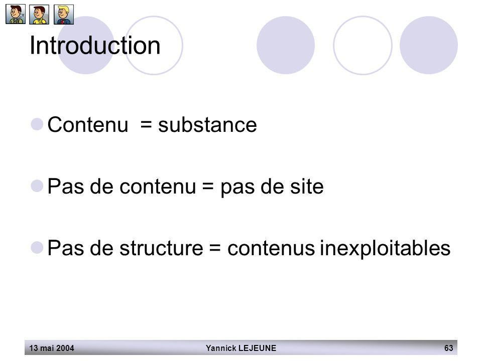 Introduction Contenu = substance Pas de contenu = pas de site