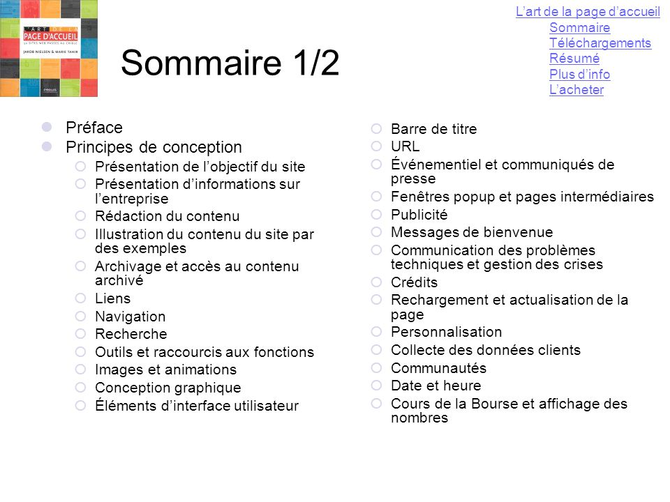 Sommaire 1/2 Préface Principes de conception