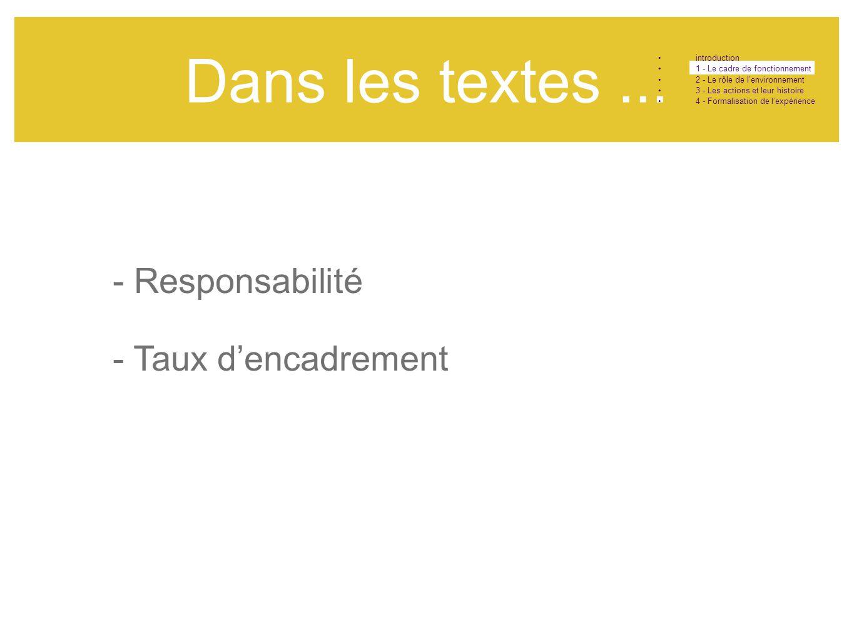 Dans les textes ... - Responsabilité - Taux d'encadrement introduction
