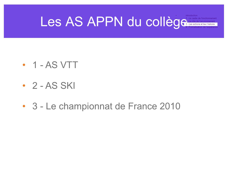 Les AS APPN du collège 1 - AS VTT 2 - AS SKI