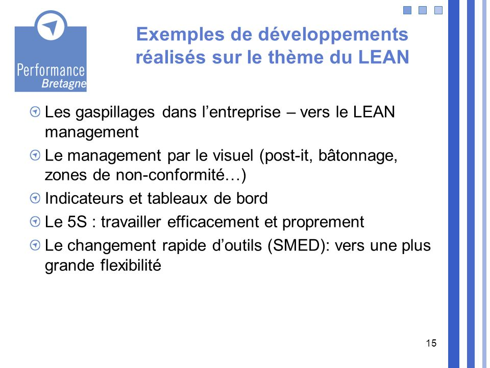 Exemples de développements réalisés sur le thème du LEAN