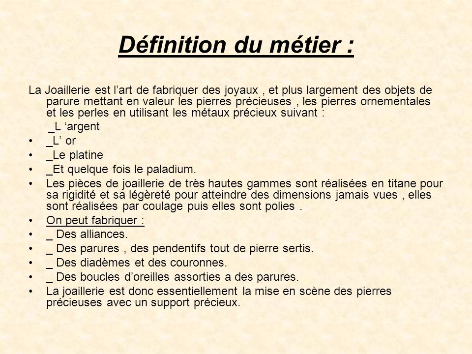 M tiers d art le sertissage ppt t l charger for Architecte definition du metier