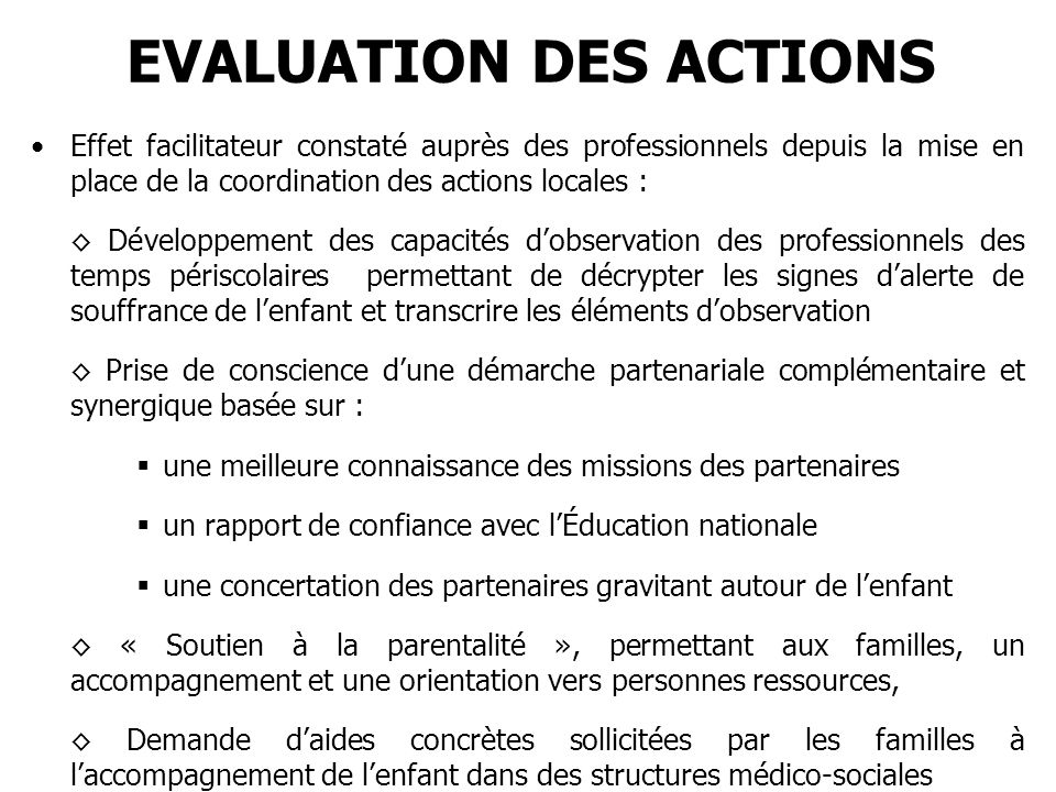 EVALUATION DES ACTIONS