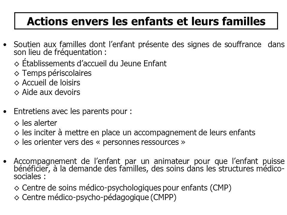 Actions envers les enfants et leurs familles
