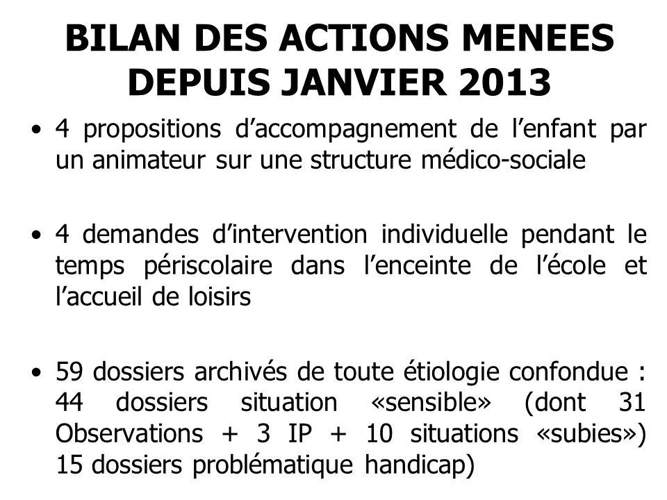 BILAN DES ACTIONS MENEES DEPUIS JANVIER 2013