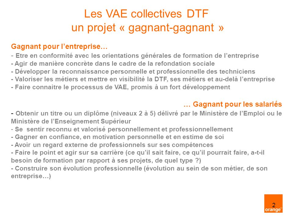 Les VAE collectives DTF un projet « gagnant-gagnant »