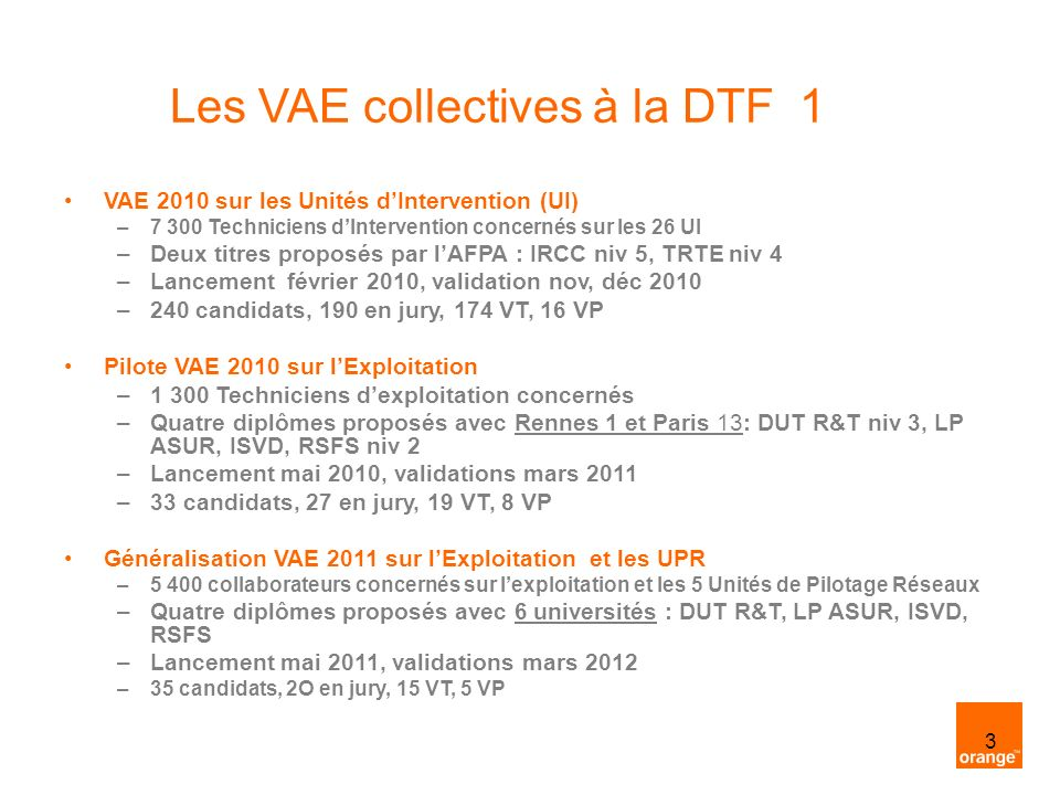 Les VAE collectives à la DTF 1