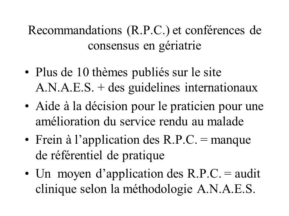 Recommandations (R.P.C.) et conférences de consensus en gériatrie