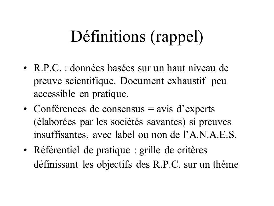 Définitions (rappel) R.P.C. : données basées sur un haut niveau de preuve scientifique. Document exhaustif peu accessible en pratique.
