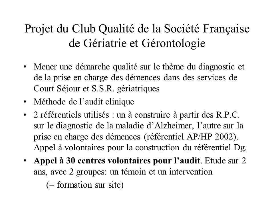 Projet du Club Qualité de la Société Française de Gériatrie et Gérontologie