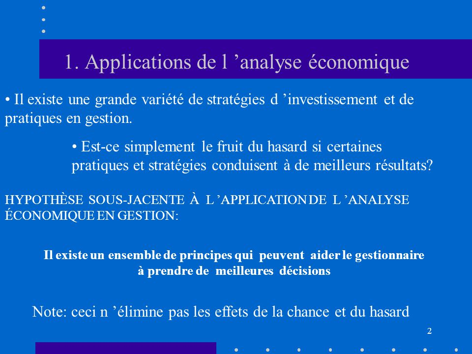 1. Applications de l 'analyse économique