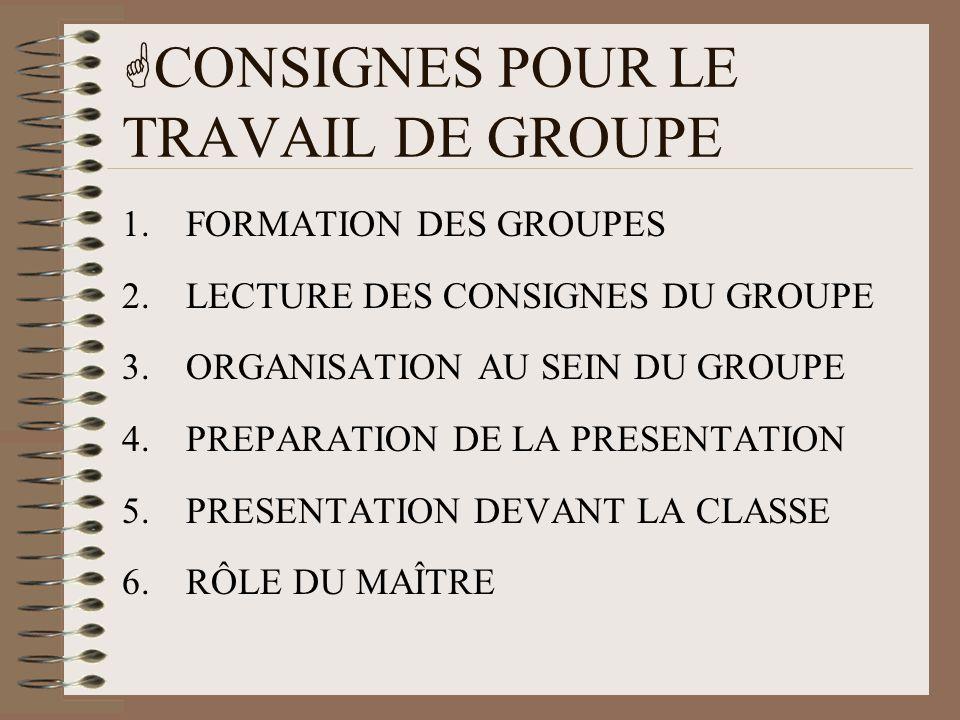 CONSIGNES POUR LE TRAVAIL DE GROUPE