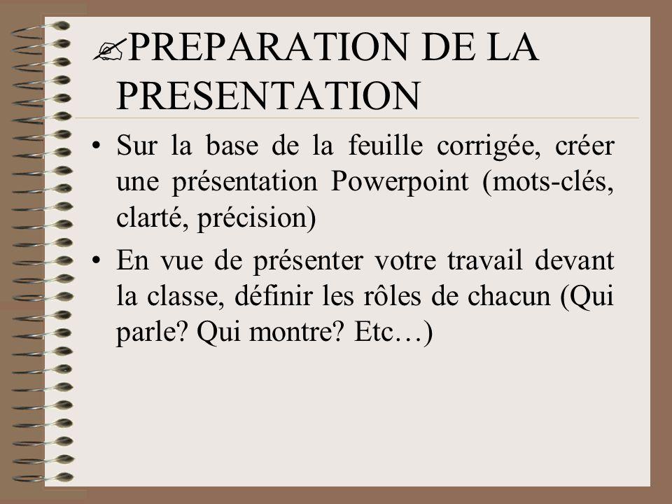 PREPARATION DE LA PRESENTATION