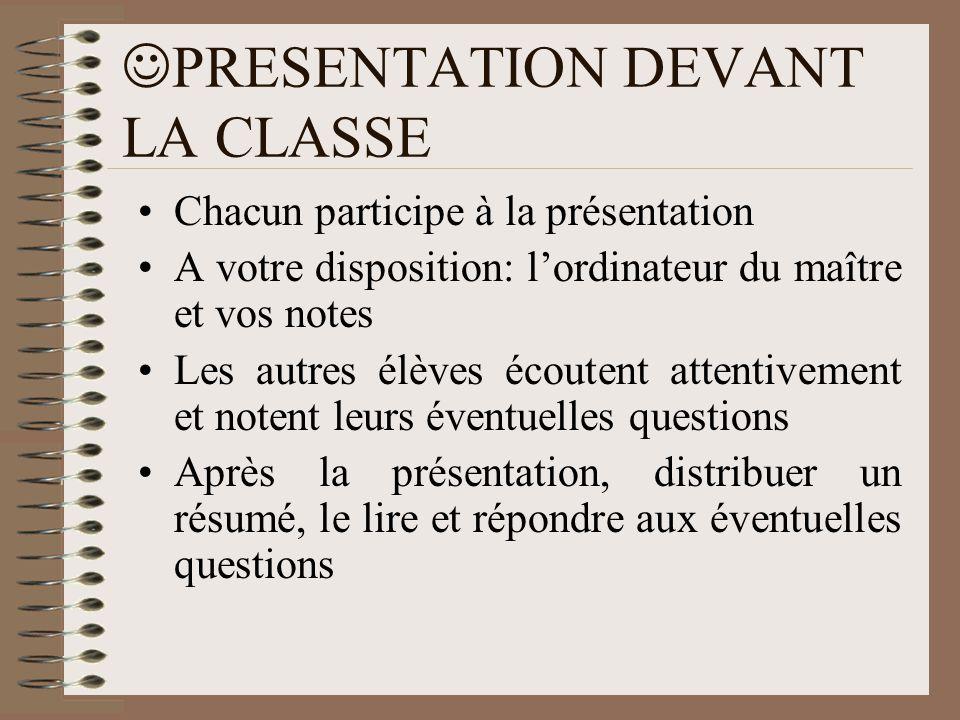 PRESENTATION DEVANT LA CLASSE