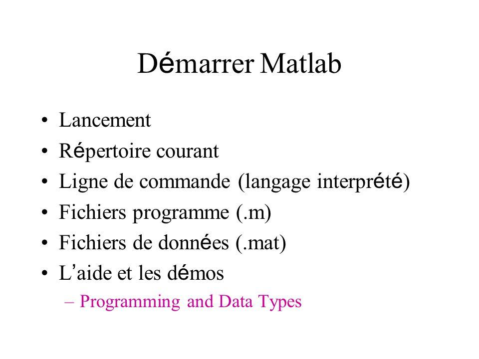 Démarrer Matlab Lancement Répertoire courant