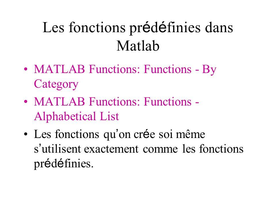 Les fonctions prédéfinies dans Matlab