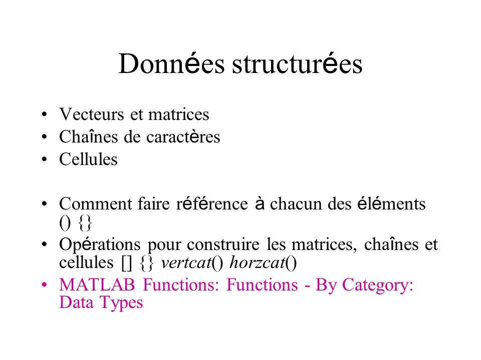 Données structurées Vecteurs et matrices Chaînes de caractères
