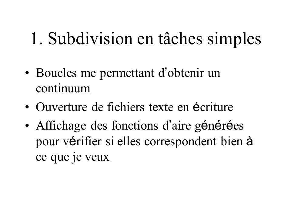 1. Subdivision en tâches simples
