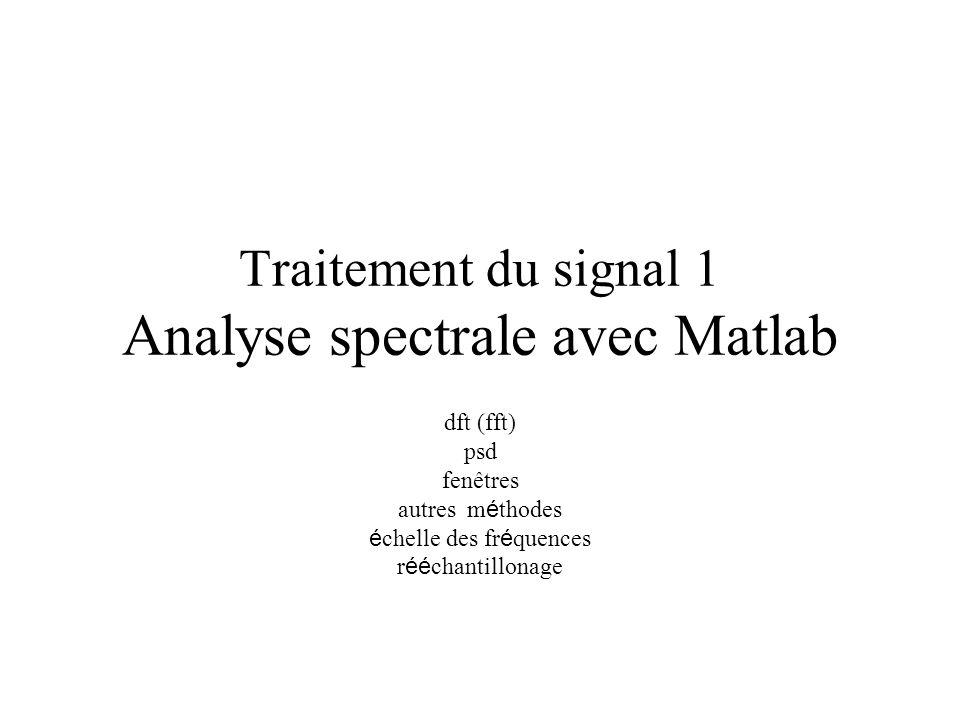 Traitement du signal 1 Analyse spectrale avec Matlab